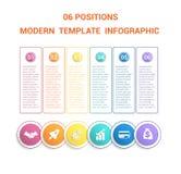 Chronologie modern malplaatje infographic voor zaken 6 stappen, proce Stock Foto's