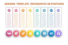 Chronologie modern malplaatje infographic voor zaken 8 stappen, proce Royalty-vrije Stock Fotografie