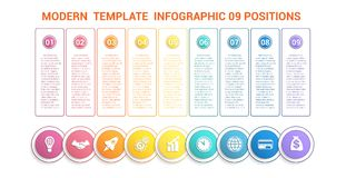 Chronologie modern malplaatje infographic voor zaken 9 stappen, proce Royalty-vrije Stock Fotografie