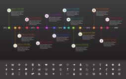 Chronologie plate moderne avec des étapes importantes d'arc-en-ciel sur le DA Images stock