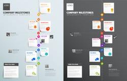 Chronologie verticale simple avec quelques faits, photos et icônes Photos libres de droits