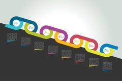 Chronologiecirkel verbonden concept, diagram, regeling, infographics Stock Foto's