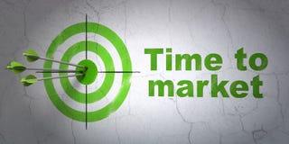 Chronologieconcept: doel en Tijd aan Markt op muurachtergrond royalty-vrije illustratie