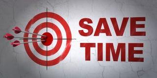 Chronologieconcept: het doel en bespaart Tijd op muurachtergrond Stock Afbeelding