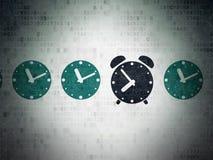 Chronologieconcept: wekkerpictogram op Digitaal stock illustratie
