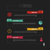Chronologieinfographics, elementen met pictogrammen Vectorzwarte Stock Foto's