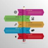 Chronologiemalplaatje de bedrijfs van Infographic met Potlood en pictogrammen Royalty-vrije Stock Foto's