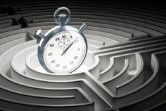 Chronomètre à l'intérieur de labyrinthe de labyrinthe, rendu 3D Photographie stock