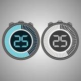 Chronomètre électronique de Digital 25 secondes Illustration de Vecteur