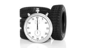 Chronomètre argenté avec des pneus Image stock