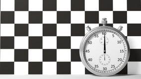 Chronomètre avec l'emballage à carreaux Image stock