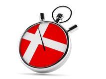 Chronomètre avec le drapeau danois illustration stock