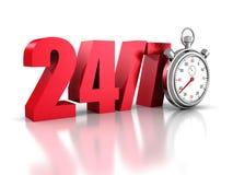 Chronomètre avec les numéros 24 et 7 Toujours disponible Illustration de Vecteur