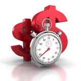 Chronomètre de temps avec de grands symboles rouges du dollar Photographie stock libre de droits