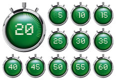 chronomètre Ensemble de minuteries numériques vertes Illustration Stock