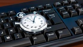 Chronomètre sur le concept de clavier d'ordinateur, rendu 3D illustration de vecteur