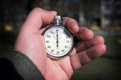 Chronometer. In the hand close up Stock Photo