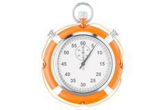 Free Chronometer And Lifebuoy, Save Time Concept. 3D Rendering Royalty Free Stock Image - 109360906
