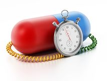 Chronometer attached to red and blue capsule pill. 3D illustration.  stock illustration
