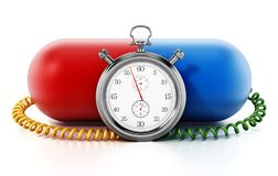 Chronometer attached to red and blue capsule pill. 3D illustration.  royalty free illustration