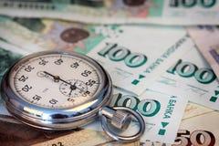 Chronometer and Bulgarian leva stock image