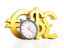 Chronometer and currency symbols Royalty Free Stock Image