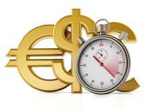 Chronometer and currency symbols Stock Images