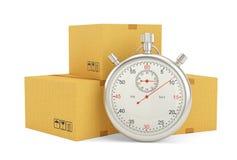 Chronometer en pakket op witte achtergrond Stock Afbeeldingen