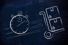 Chronometer en pakketten, concept snelle levering Stock Foto's