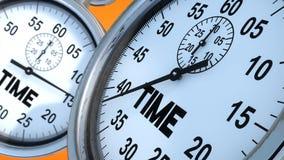Chronometer en tijdtekst Stock Foto's
