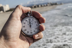 Chronometer In Hand Royalty Free Stock Photography