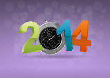 2014 chronometer. Illustration of colorful 2014 text with chronometer Royalty Free Stock Image