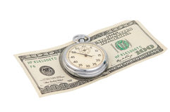 Chronometer met geïsoleerde dollarrekening Stock Fotografie