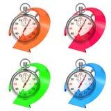 Chronometer met Gekleurde Pijl. Reeks op Wit. royalty-vrije illustratie