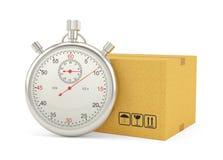 Chronometer met Kartondoos op Witte Achtergrond Royalty-vrije Stock Afbeelding