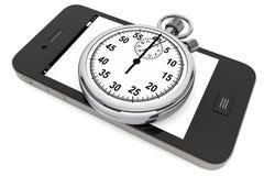 Chronometer met Mobiele Telefoon Stock Fotografie