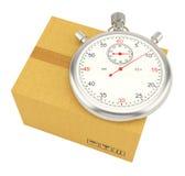 Chronometer op achtergrond van kartondoos Royalty-vrije Stock Afbeelding