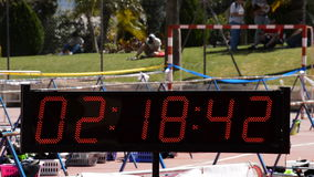 Chronometer running or sport clock in sport event or marathon stock footage