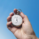 Chronometer. Silver chronometer, white hand, time count Stock Images