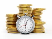 Chronometer standing on golden coins stack. 3D illustration stock illustration