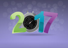 2017 chronometer time. Illustration of colorful 2017 text with chronometer Vector Illustration