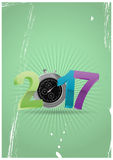 2017 chronometer time. Illustration of colorful 2017 text with chronometer Stock Photo