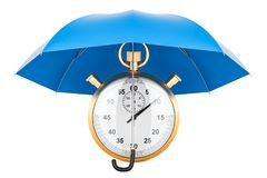 Chronometer under blue umbrella, 3D rendering. Isolated on white background Royalty Free Stock Image