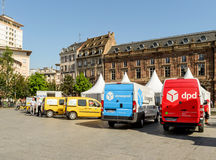 Chronopost, DPD, La poste vans in a row  city Stock Photo