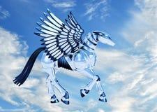 Chrome Pegasus in Hemel royalty-vrije stock afbeelding