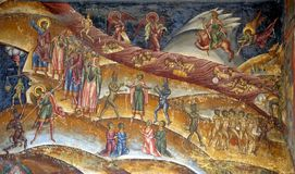 Chrristian purgatory fresco. Close up of Christian fresco depicting state of purgatory Stock Photography