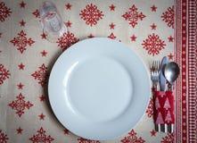 Chrsitmas桌的晚餐装饰 库存照片