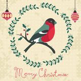 Chrsitmas card with bullfinch Royalty Free Stock Photo