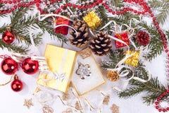 Chrsitmas gift. Xmas background and opened gift on white Royalty Free Stock Photography
