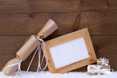 Chrsitmas Gifts With Copy Space On Snow Stock Image